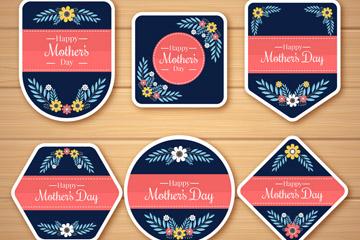 6款创意花卉母亲节标签矢量素材
