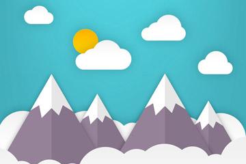 创意云中的雪山风景剪贴画矢量素