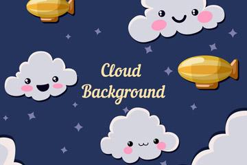 可爱夜空中的云朵和飞艇矢量素材
