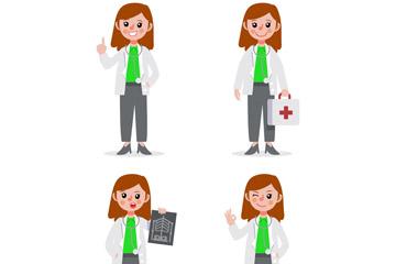 4款卡通长发女医生矢量素材