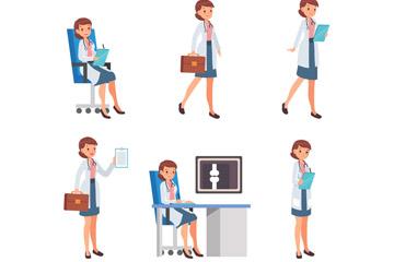 6款创意工作中的女医生矢量图