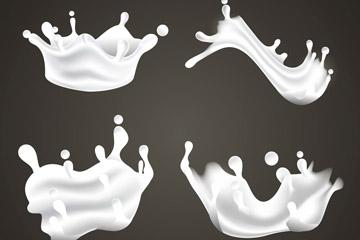 4款动感液态牛奶矢量素材