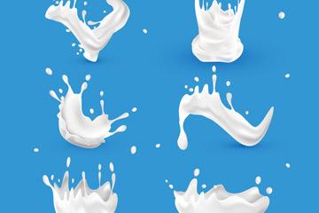 6款白色动感牛奶设计矢量图