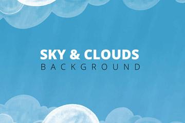 手�L�{色天空云朵矢量素材