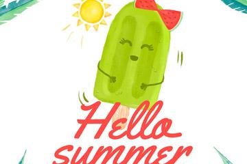 可爱夏季绿色雪糕矢量素材