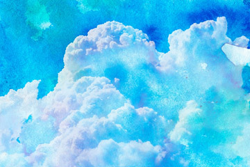 彩绘天空云朵风景矢量素材