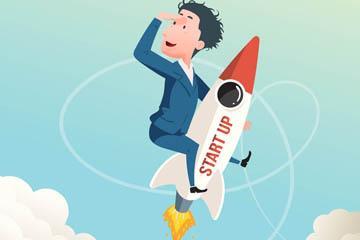 创意坐火箭升空的男子矢量图