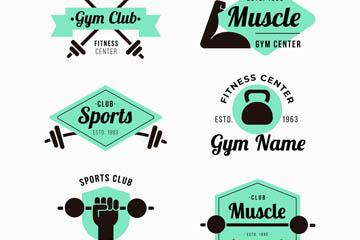 6款创意健身中心标志矢量图