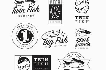 9款黑色鱼类商务标志矢量素材