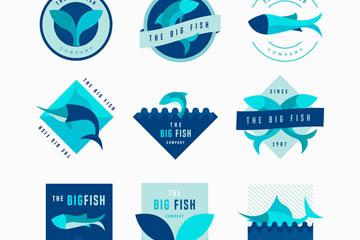 9款蓝色鱼类标志矢量素材