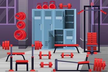 红色健身中心设计矢量素材