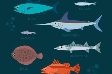 7款彩色海洋鱼类设计矢量素材