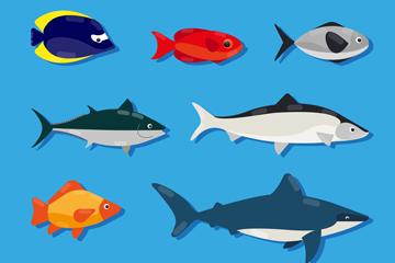 7款创意海洋鱼类设计矢量图
