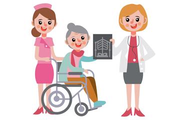 创意看X片的女医生和患者矢量素材