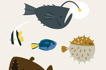 6款可爱海洋鱼类矢量素材