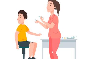 创意打针的男孩和护士矢量图