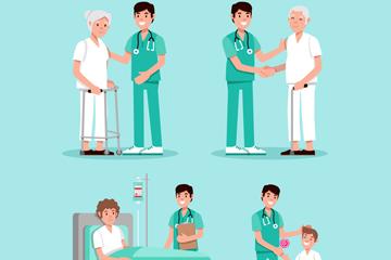 4组创意医生和患者场景矢量图