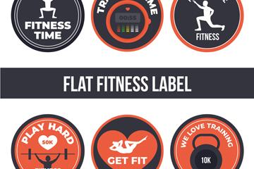 6款圆形健身元素标签矢量素材