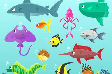 12只彩色大海中的海洋动物矢量素材