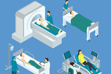 4款立体医生和患者场景矢量图