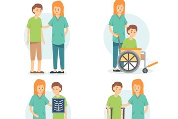 4组创意女医生和患者场景矢量图