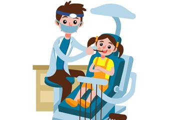 创意治疗牙齿的女孩和牙医矢量图