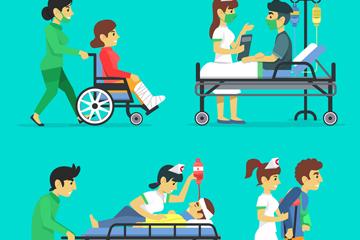 4组创意医生和患者侧影矢量素材
