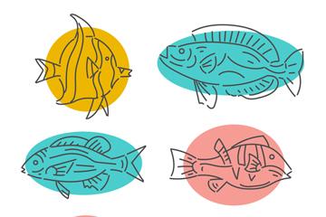 6款手绘鱼类设计矢量素材