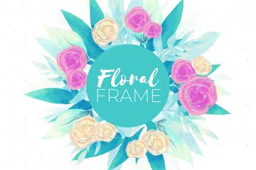 彩绘玫瑰花框架矢量素材