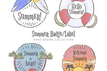 4款手绘风格夏季标签和徽章矢量图