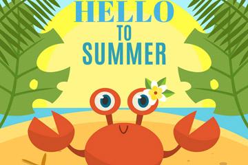 卡通夏季沙滩螃蟹矢量素材