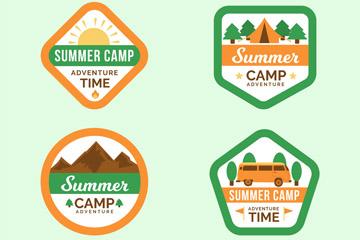 4款创意夏季野营标签矢量素材