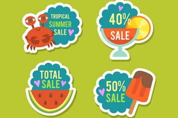 4款彩色纸质夏季促销标签矢量图