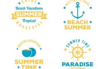 4款橙色夏季度假标签矢量图