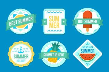 9款蓝色纸质夏季标签矢量素材