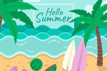 彩色夏季大海和沙滩风景矢量图