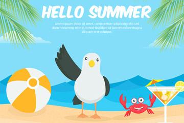 可爱夏季沙滩打招呼的海鸥和螃蟹矢量图