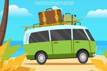 创意夏季沙滩旅游巴士矢量图