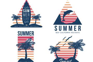 4款手绘夏日假期标签矢量素材