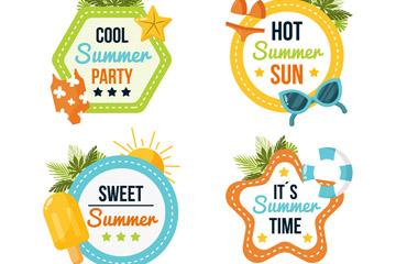 4款彩色夏季假期标签矢量素材