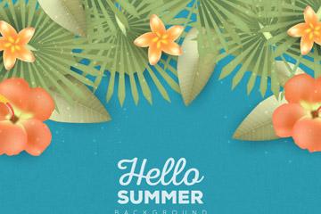 创意夏季橙色鸡蛋花和扶桑花矢量素材
