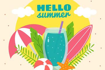 彩色你好夏季度假物品矢量图