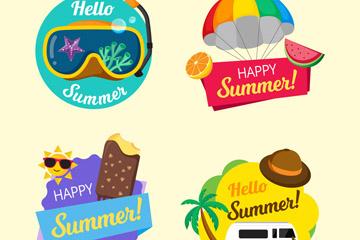 4款彩色你好夏季�撕�矢量素材