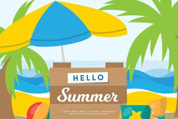 彩色你好夏季海边沙滩木牌矢量图