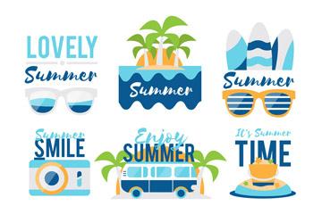 6款清新蓝色夏季元素标签矢量图