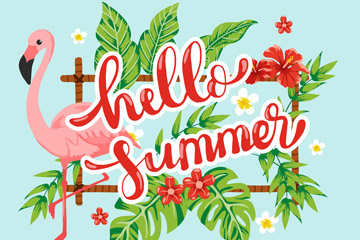彩色你好夏季火烈鸟和扶桑花矢量图