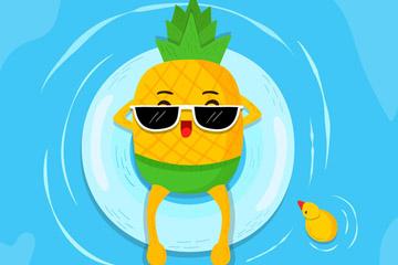 可爱海上玩水的菠萝矢量素材