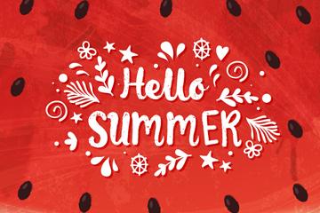 创意你好夏季西瓜艺术字矢量图