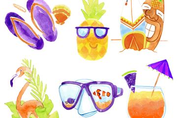 6款彩绘夏季度假元素矢量素材