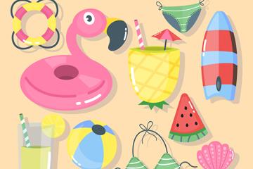 10款创意夏季度假物品矢量素材